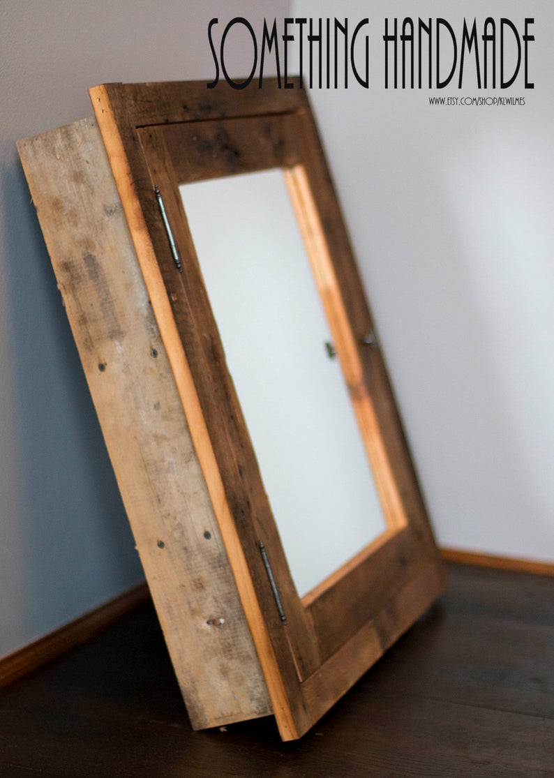Rustic Recessed Barn Wood Medicine Cabinet With Mirror Made From