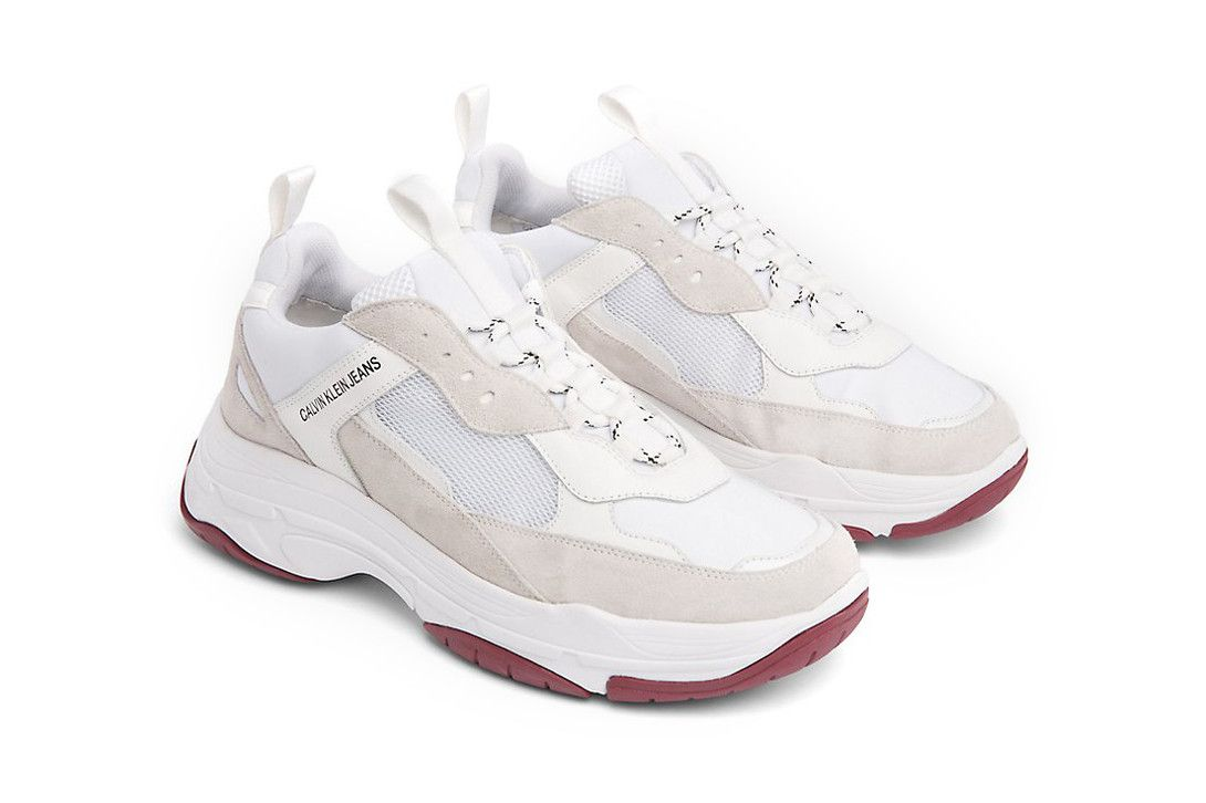 9a86ed0e98b324 calvin klein jeans marvin chunky runner sneaker dad shoe white black tan  beige suede leather 139 usd drop release available sell sale purchase buy  cop raf ...