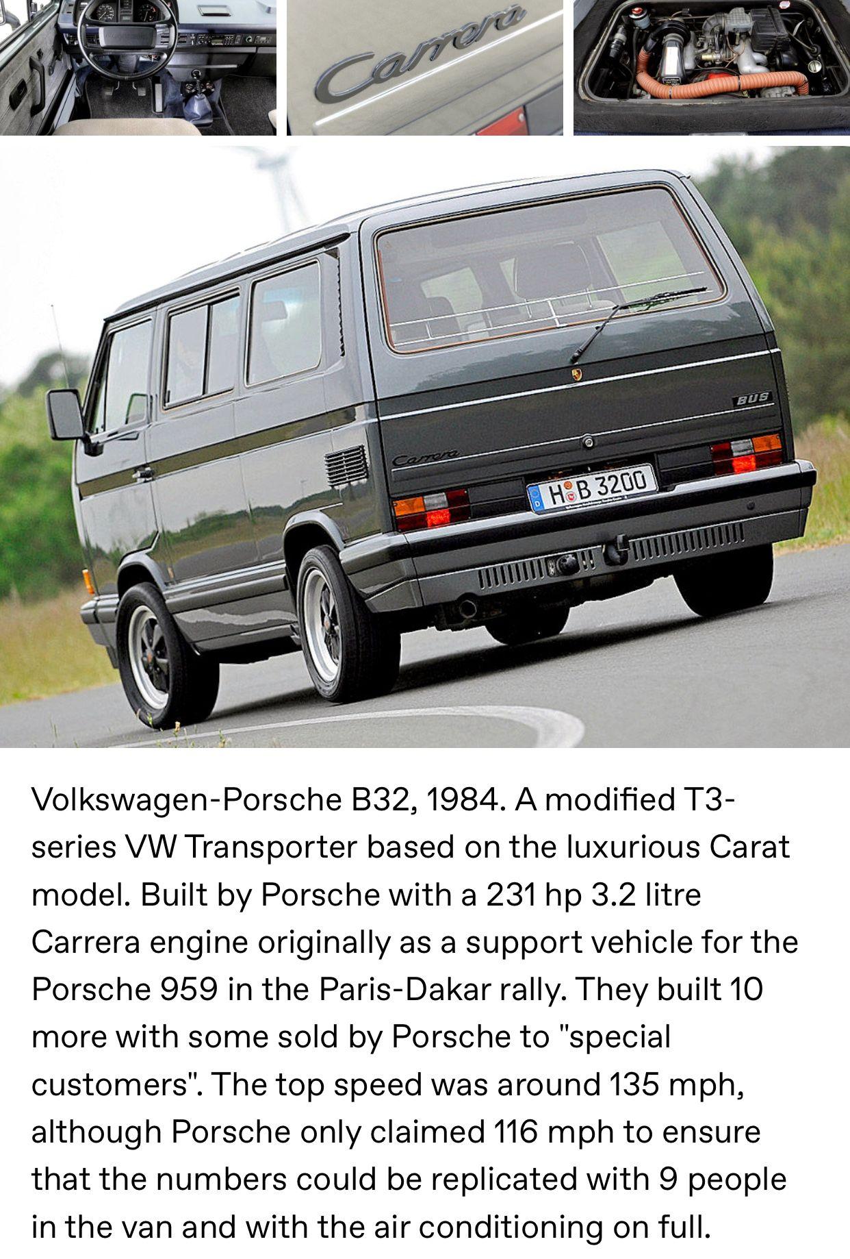 Volkswagen Porsche B32 1984 A Modified T3 Series Vw Transporter