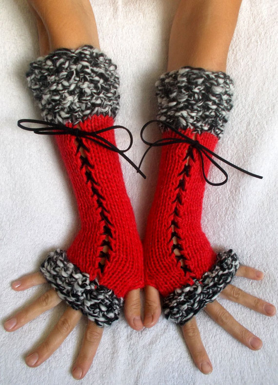 Fingerless Gloves Corset Wrist Warmers in Red Black White ...