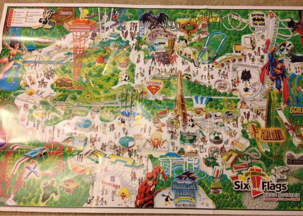 Six Flags Magic Mountain Vintage Theme Park Map Theme Park Map Vintage Theme Theme Park