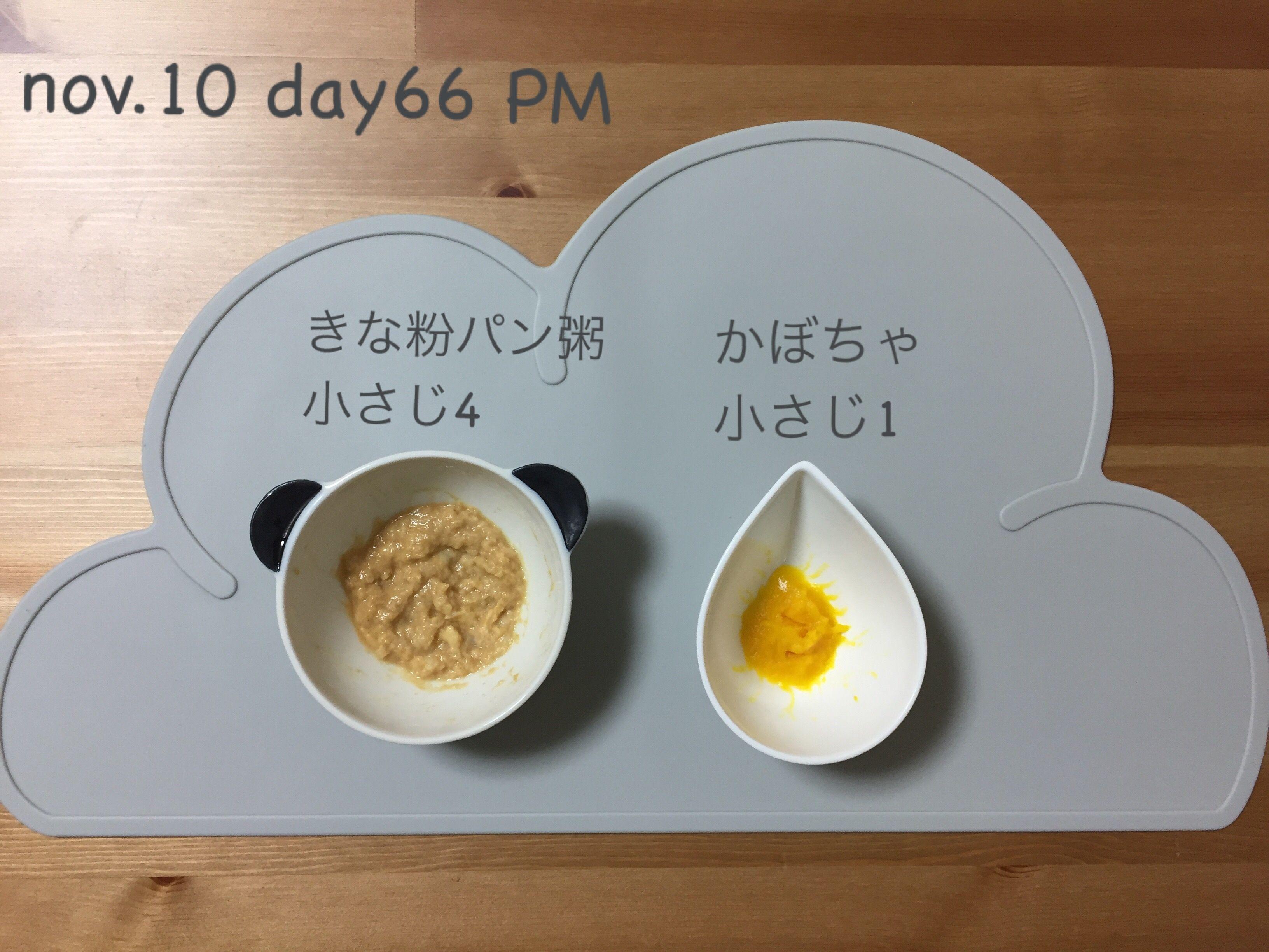 2016.11.10thu 16:17 パン粥小さじ3+きな粉小さじ1 かぼちゃ小さじ1