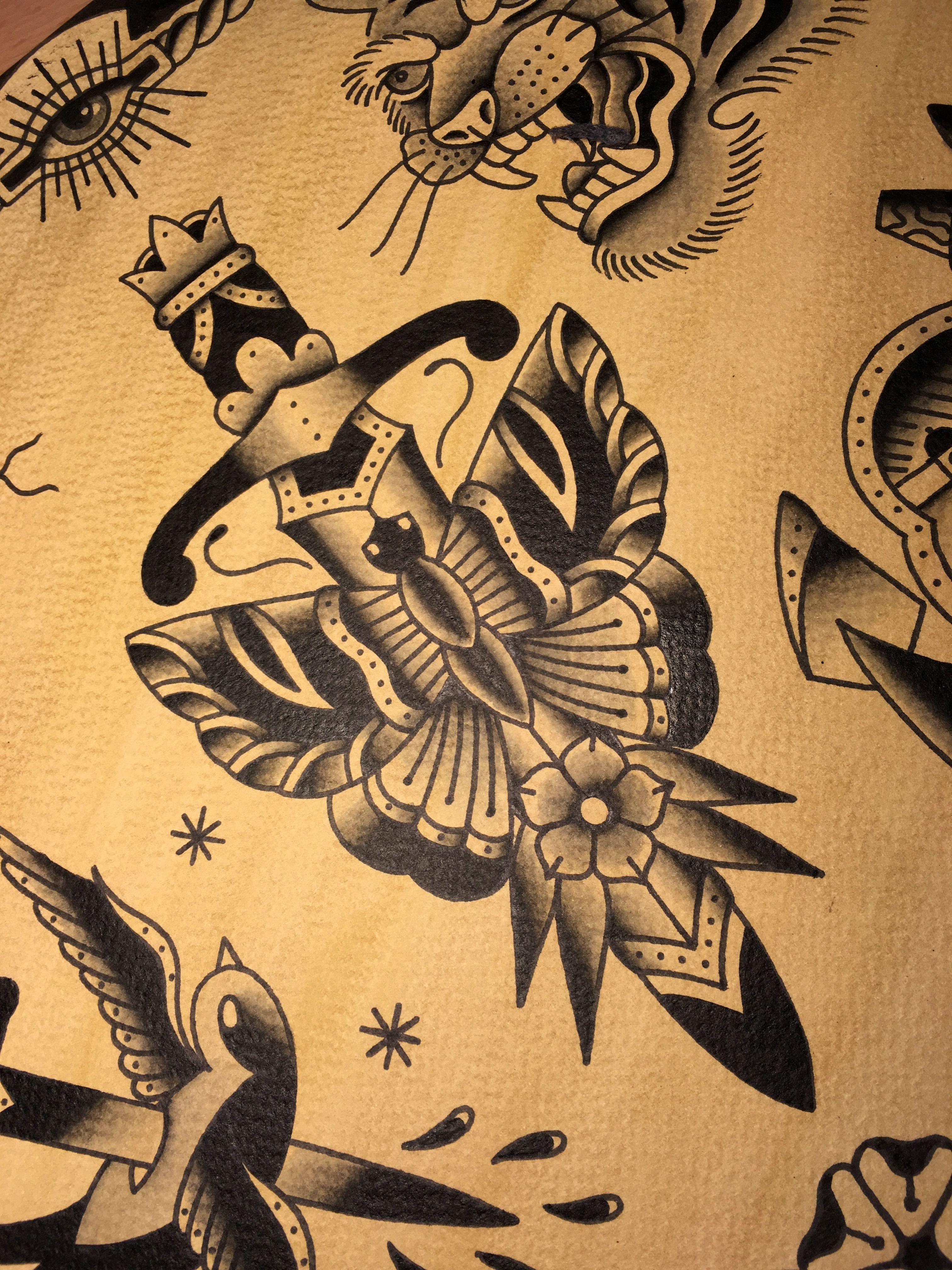 Amsterdam Tattoo Shop Old School Dagger Butterfly Www