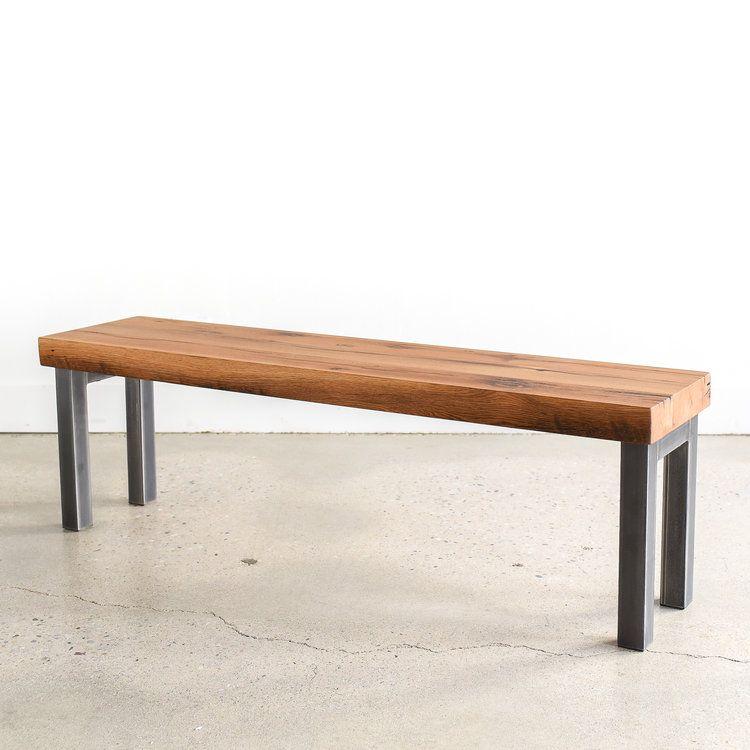 Industrial Steel Frame Bench 2 3 Reclaimed Top What We Make Steel Frame Seating Reclaimed Oak