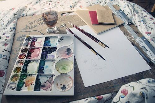 start every morning with paint in bed (at least once a month)