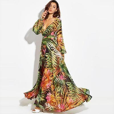 Vintacy 2017 Fashion Women Summer Maxi Beach Dress Green V Neck Long Dresss Bohemian Lantern Sle Vintage Maxi Dress Tropical Maxi Dress Maxi Dress With Sleeves