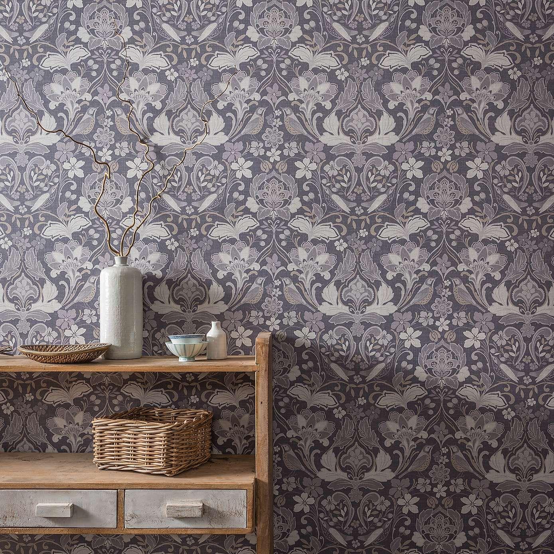 Folk Floral Grey Wallpaper Home art, Grey wallpaper