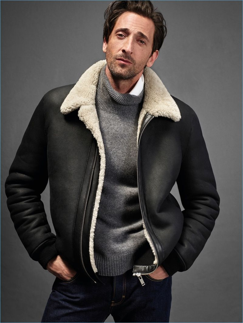 Adrien Brody Reunites With Mango For 10th Anniversary Collection Campaign Leather Jacket Men Mens Winter Fashion Mens Outfits [ 1062 x 800 Pixel ]