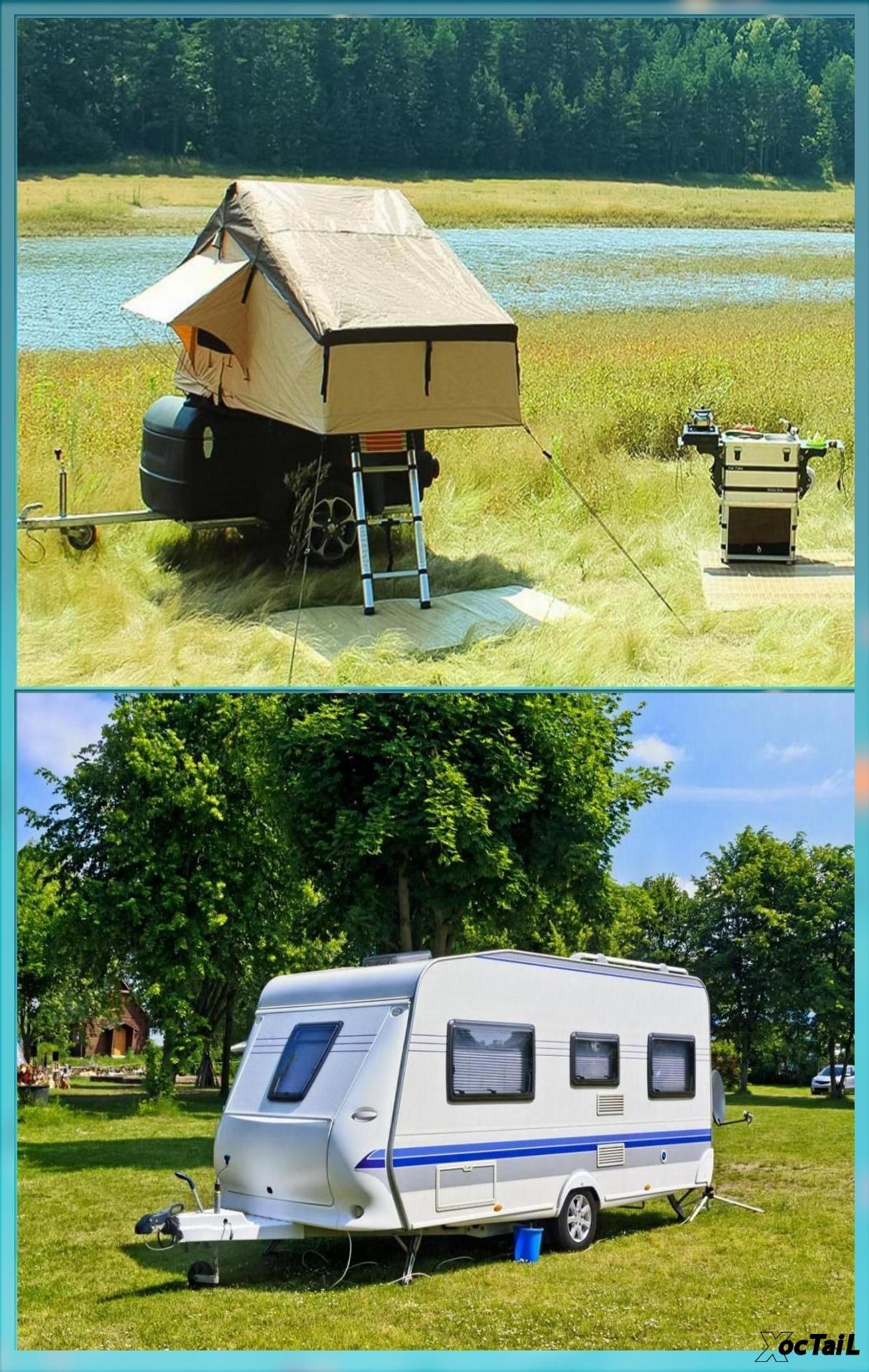 Fully equipped lightweight camping trailer caravan