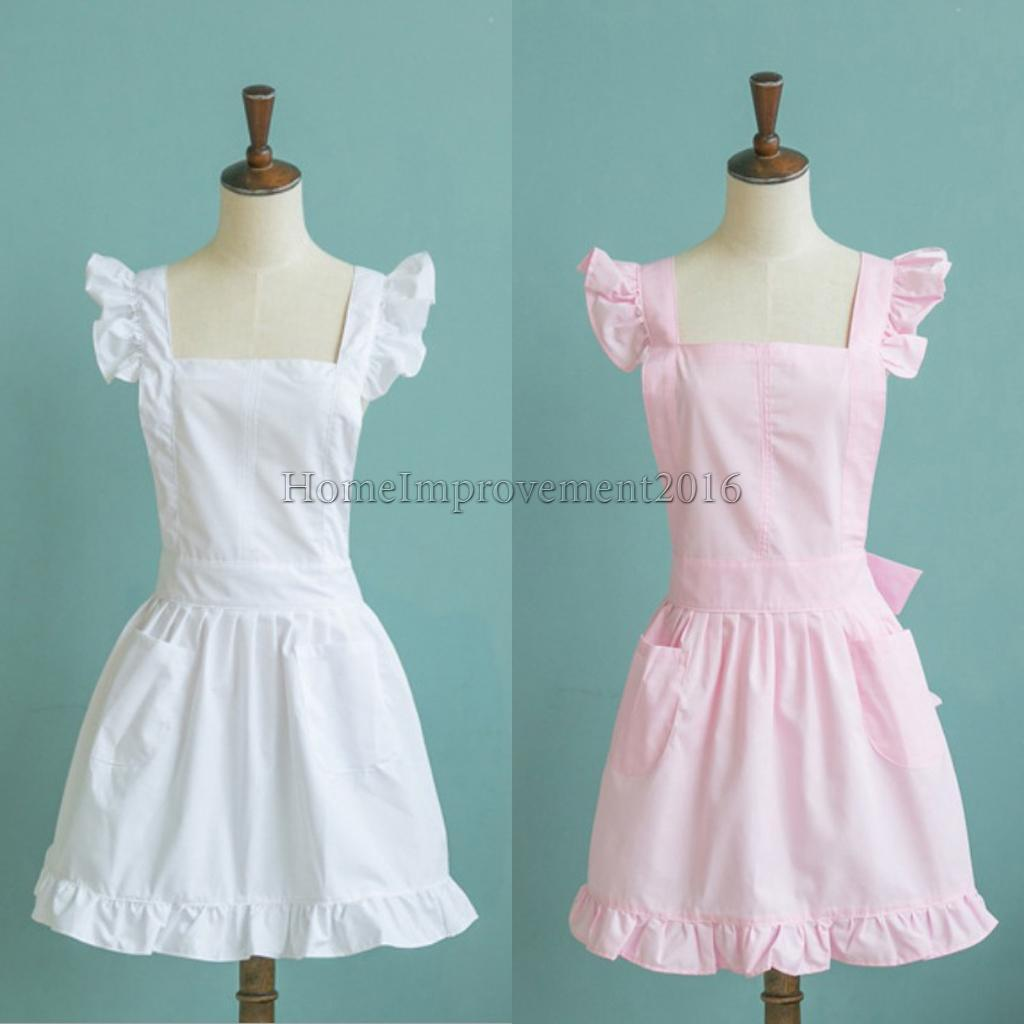 Women Victorian Pinafore Apron Maid Smock Costume Ruffle Pocket Dresses Fancy