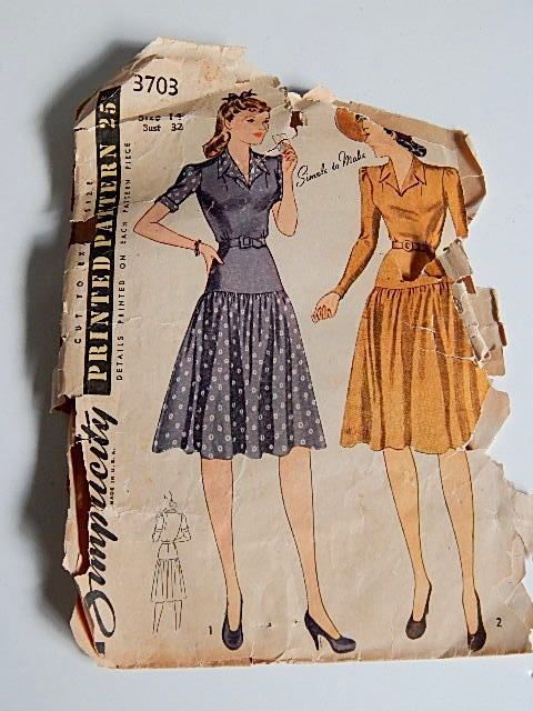 Vintage 40\'s Simplicity Dress Pattern Swing Dress 1941 WWII Pin Up ...