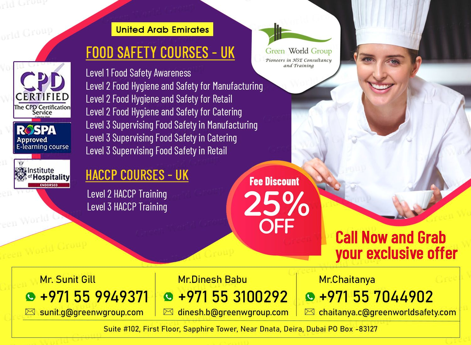 Enrol for Food Safety Courses in UAE 25 Discount in