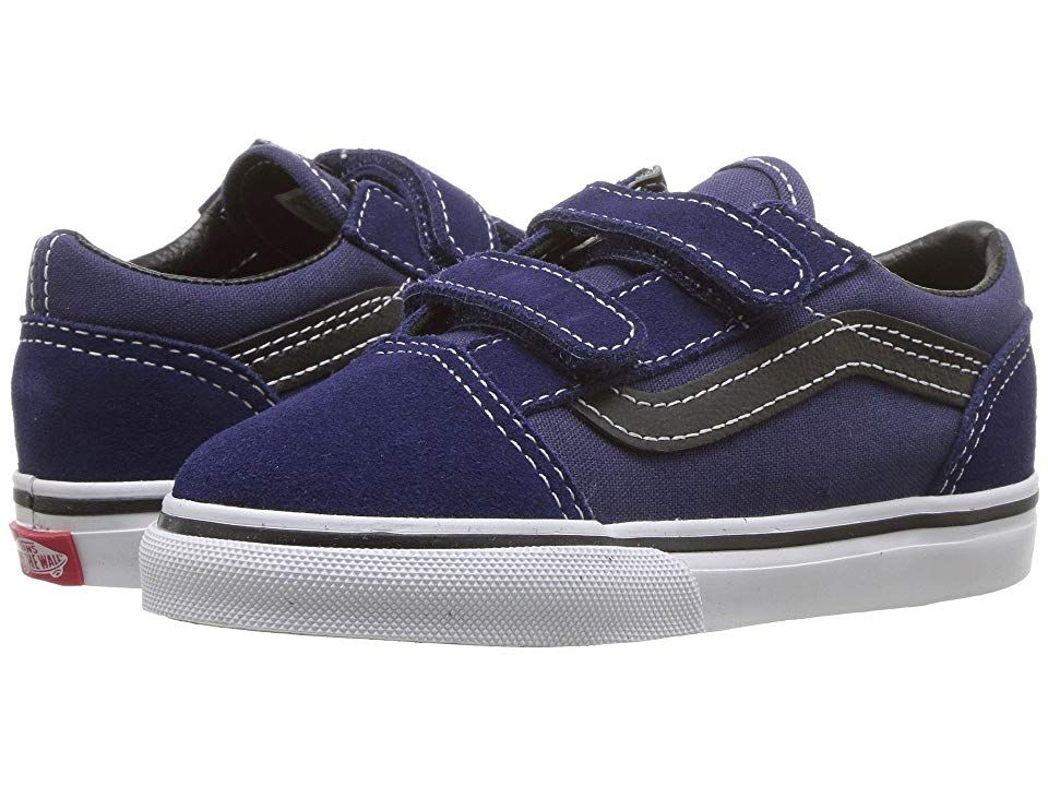 Athletic Shoes · Skate · Vans Kids Old Skool V (Infant Toddler) (Medieval  Blue Black) e251fa573