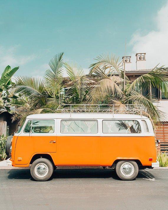 Vw Van Photography Encinitas Beach Print Orange Beach Wall Etsy In 2020 Colorful Wall Art Beach Wall Art Orange Aesthetic