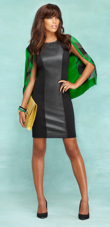 We added an edgy, modern attitude to the ponte shift dress - mixing it up with a bold center panel of faux leather.