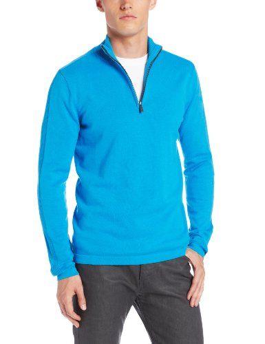 Calvin Klein Jeans Men's Long Sleeve Half Zip Sweater, Atlas Blue ...