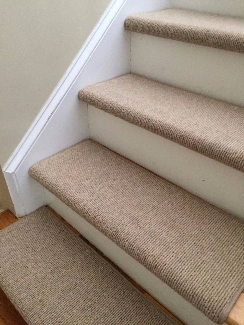 Bristol Tan New Zealand Wool True Bullnose Padded Carpet Stair Tread Runner Replacement For Style Comfort And Safety Sold Each In 2020 With Images Carpet Stair Treads Hallway Carpet Runners Carpet Treads