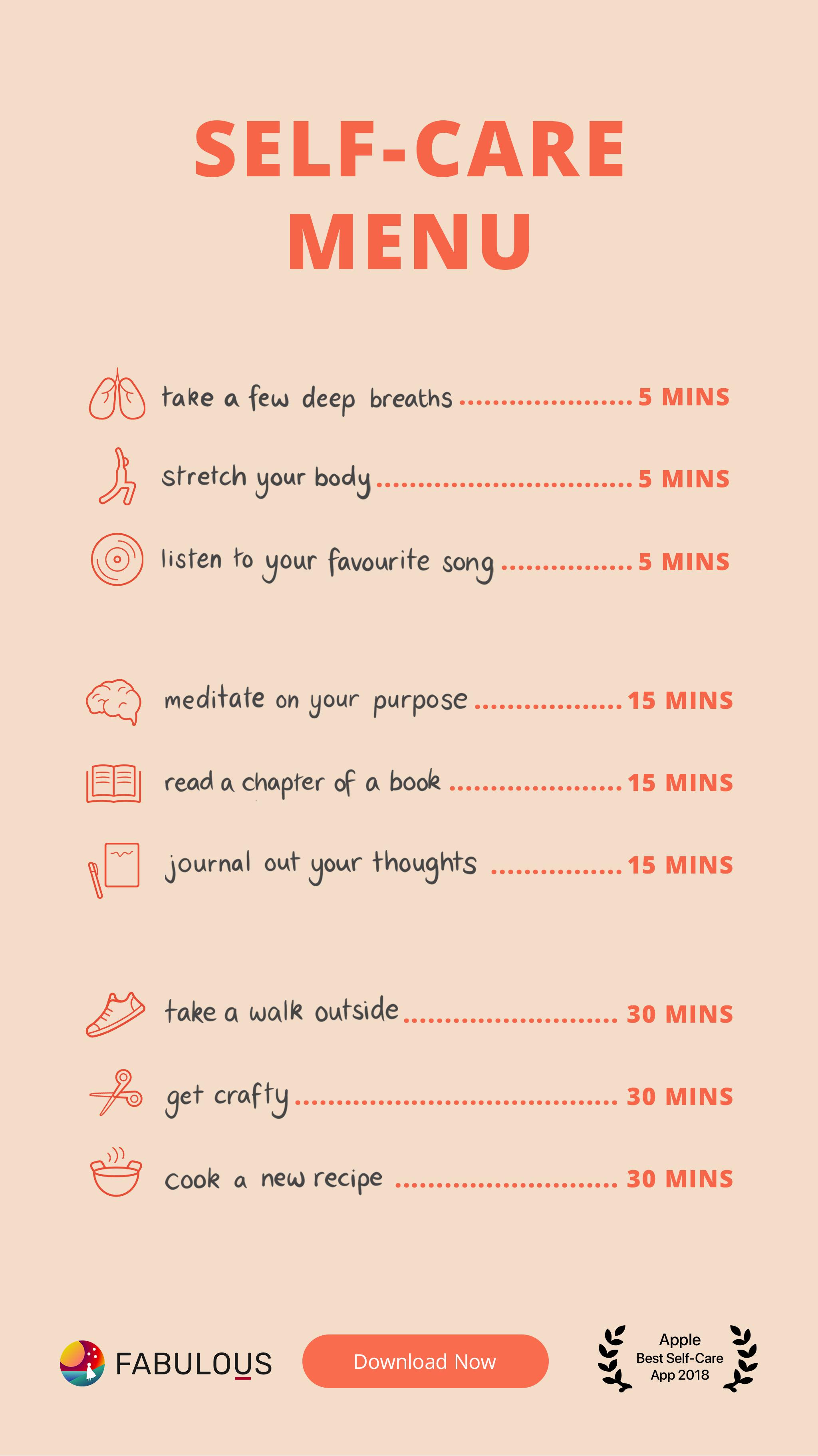 Your Daily Self Care Menu