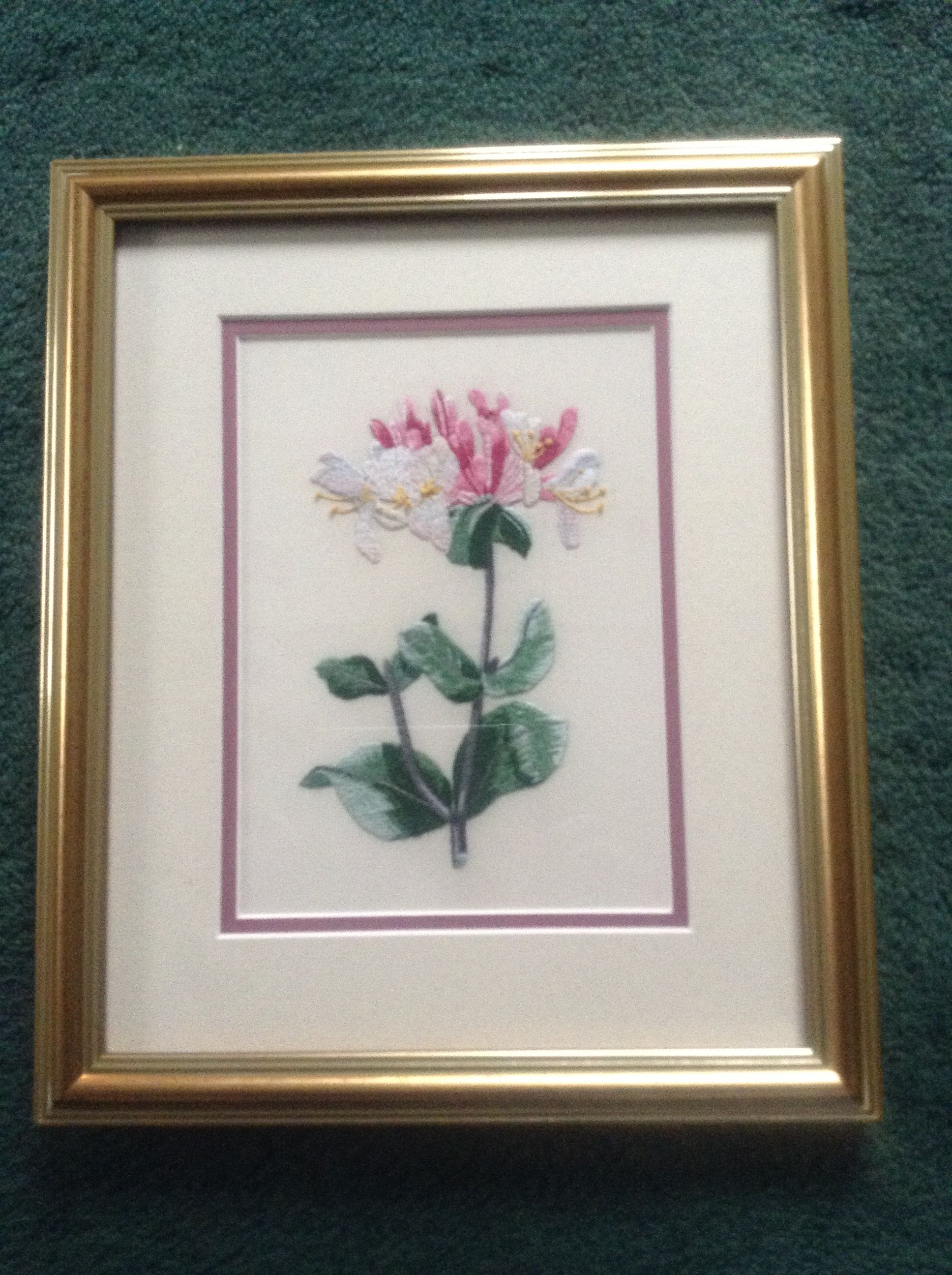 Very Fine Silk Embroidery Of Honeysuckle For My Mother In Law For