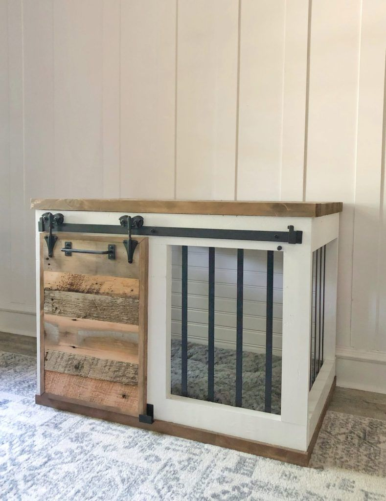 Farmhouse barn door dog crate diy dog kennel wood dog