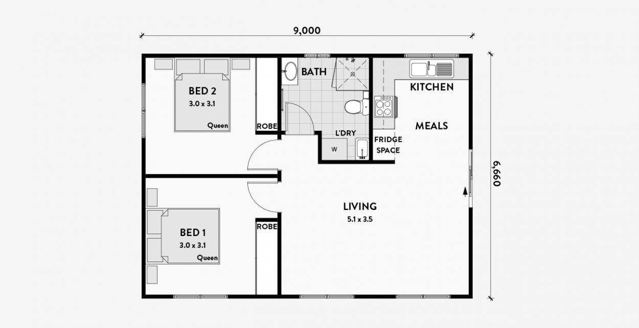 Orchid 2 Bedroom Granny Flat 60m2 Granny Flat Plans Granny Flats Australia Granny Flat
