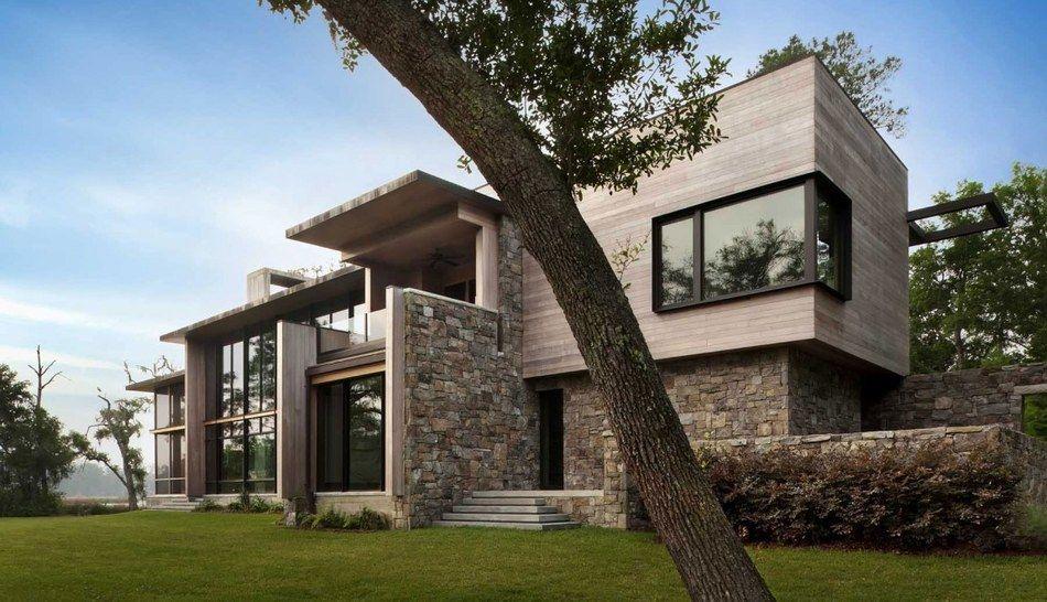 magistrale maison bois et pierre contemporaine sur l le de bray usa materiality house. Black Bedroom Furniture Sets. Home Design Ideas