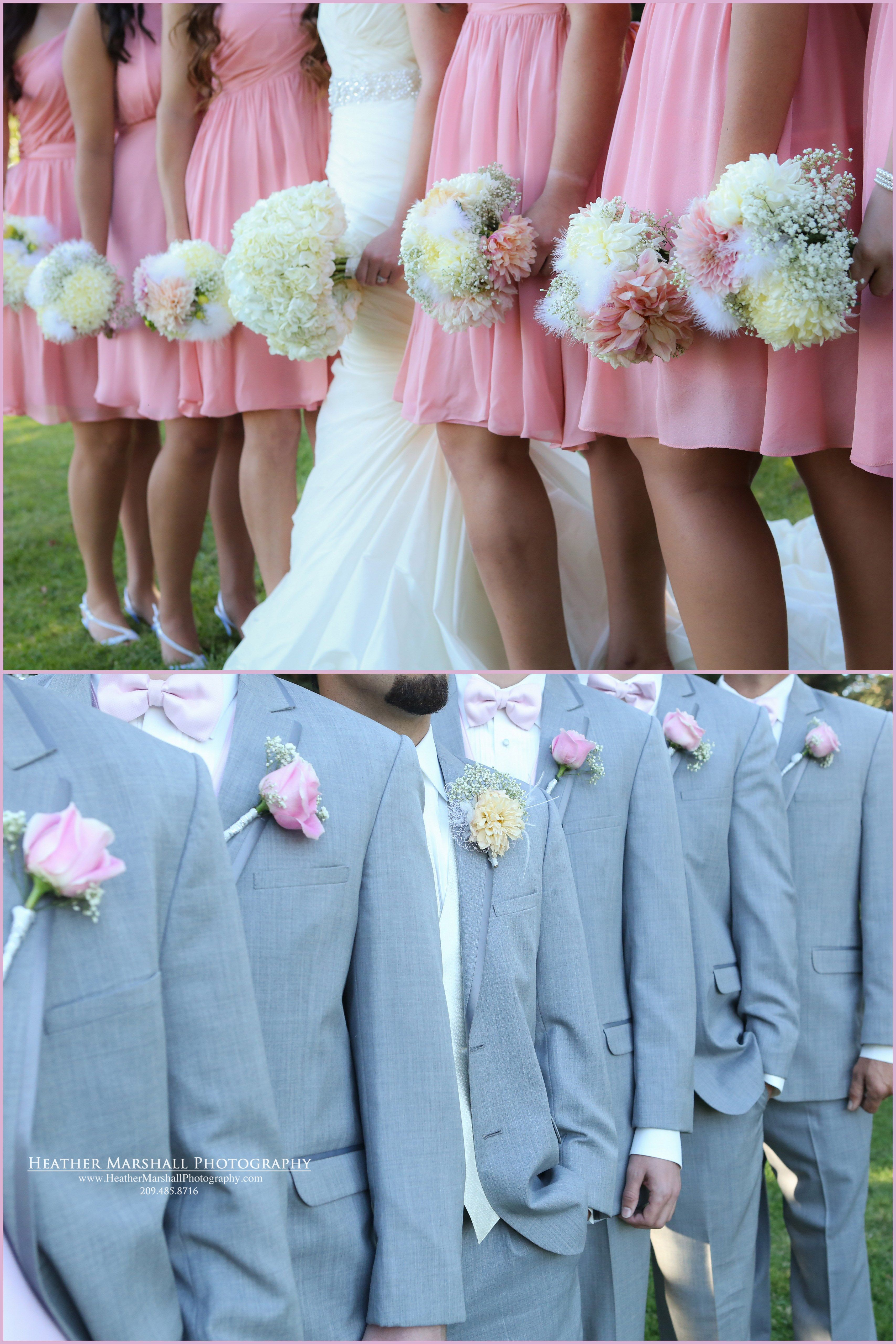 Blush Pink Gray Wedding Colors Bridal Party Pose Idea