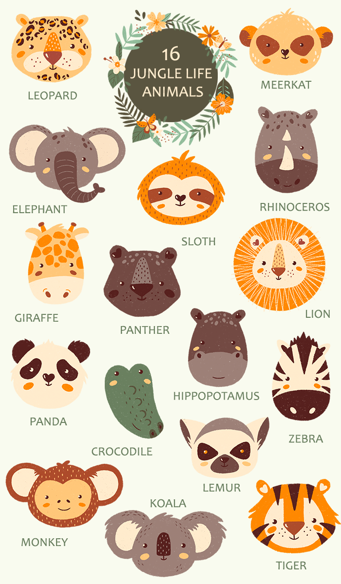 Gallery JUNGLE LIFE PORTRAIT ANIMALS   Baby Animals clipart   Wild animals clipart   Sloth   Lion   Tiger is free HD wallpaper.