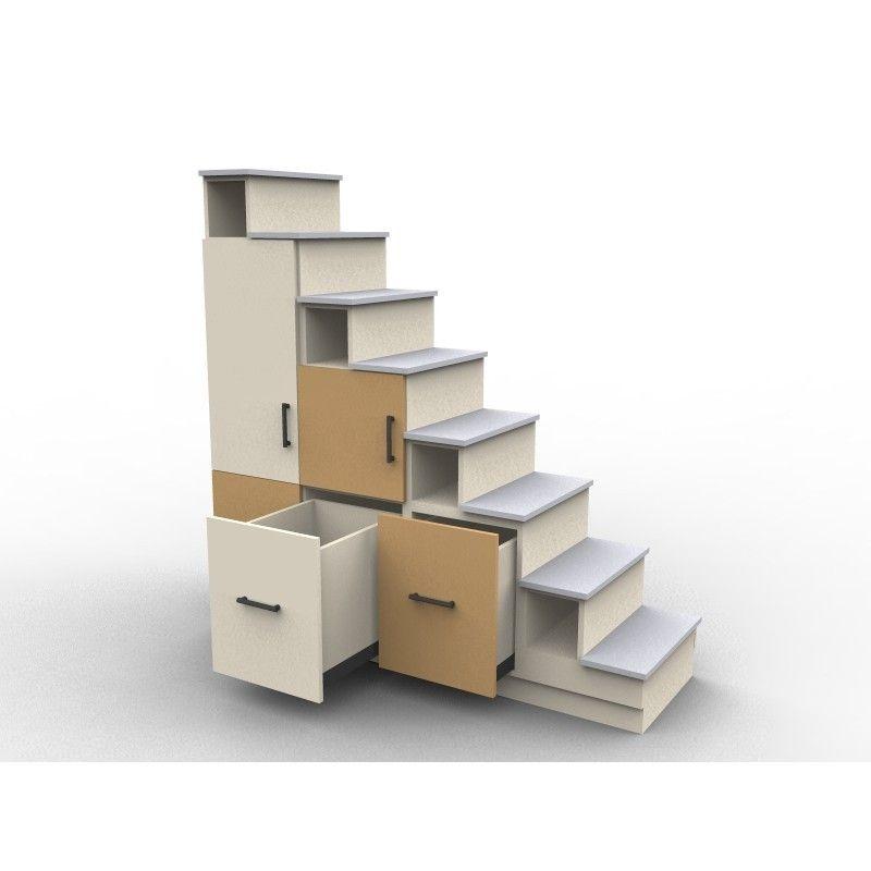 Meuble escalier avec portes de rangement mod le usu deux Meuble sur mesure sous escalier