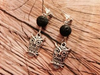Black Lava Bead & Owl Aromatherapy Earrings by EOFLW on Etsy