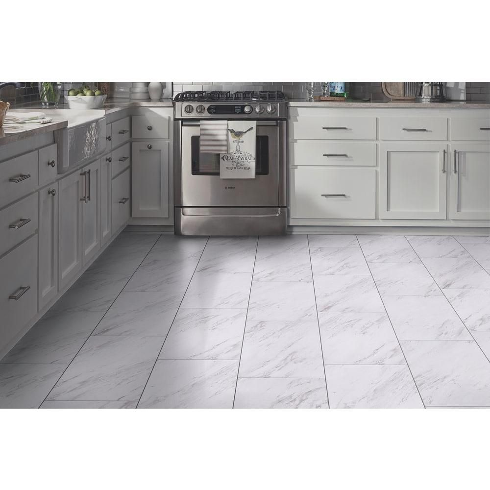 TrafficMASTER 12 In. X 24 In. Peel And Stick Carrara Marble Vinyl Tile