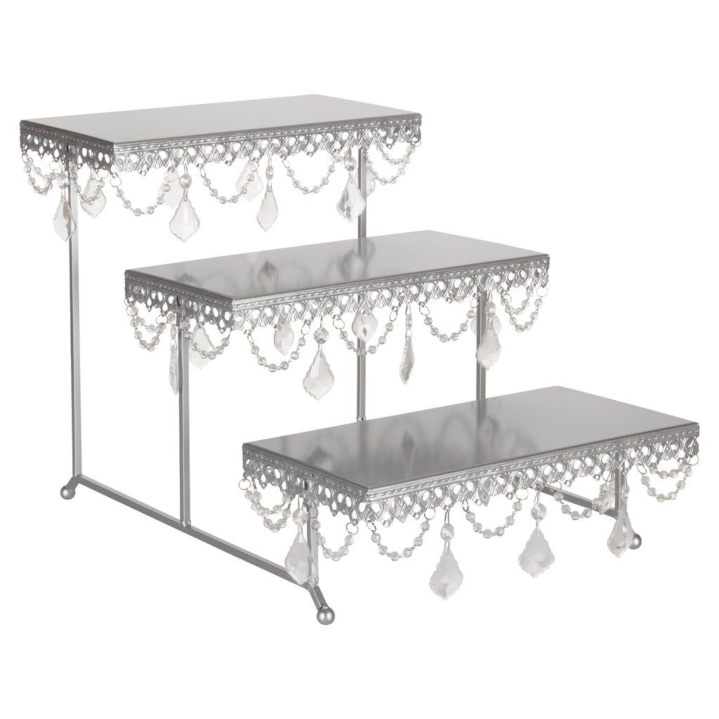 3 Tier Serving Platter And Cupcake Stand With Crystals Silver Stainless Steel Frame Cupcake Stand Serving Platters