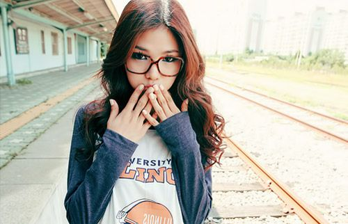 girl glasses Asian with