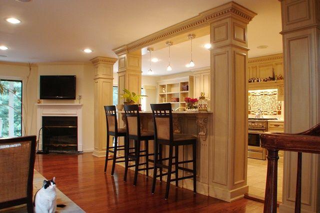 Interior Opening With Columns Open Floor Plan