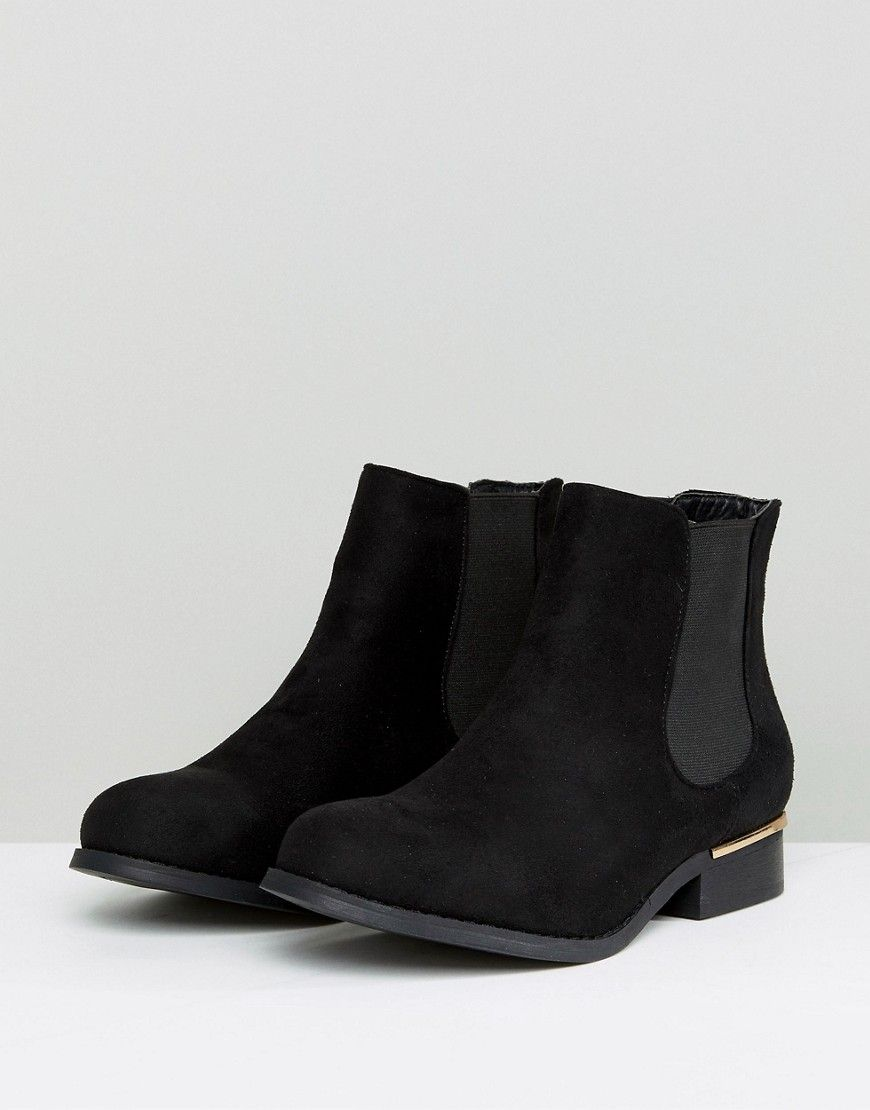 Truffle Collection Metal Trim Flat Chelsea Boot