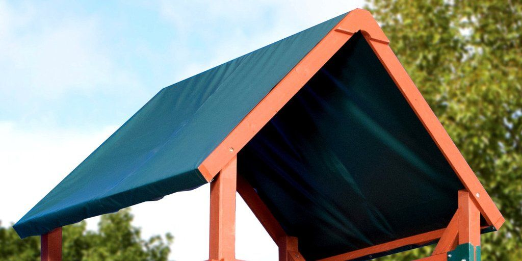 A Beautiful Forest Green That S Able To Manage All Of The Elements Our Tarp Roof Will Be A Smart Sun Proof And Stylish Acc Beautiful Forest Swing Set Outdoor