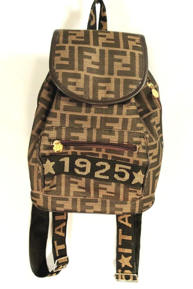 Details about Monogram Fendi Zucca Pattern Small Brown Backpack ... d88310121968e