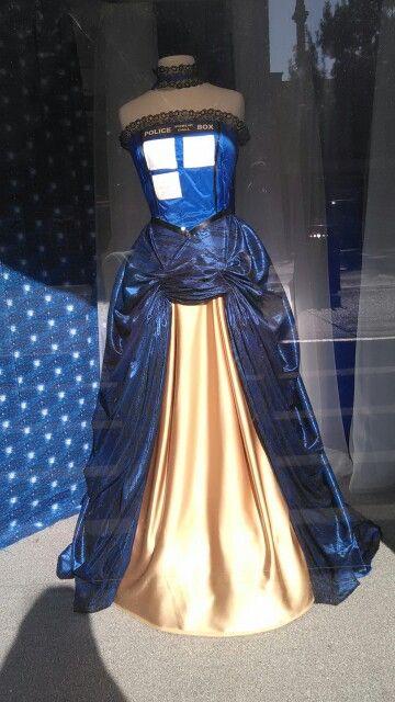 A Tardis demo dress in a Gala Fabrics in Victoria, BC.
