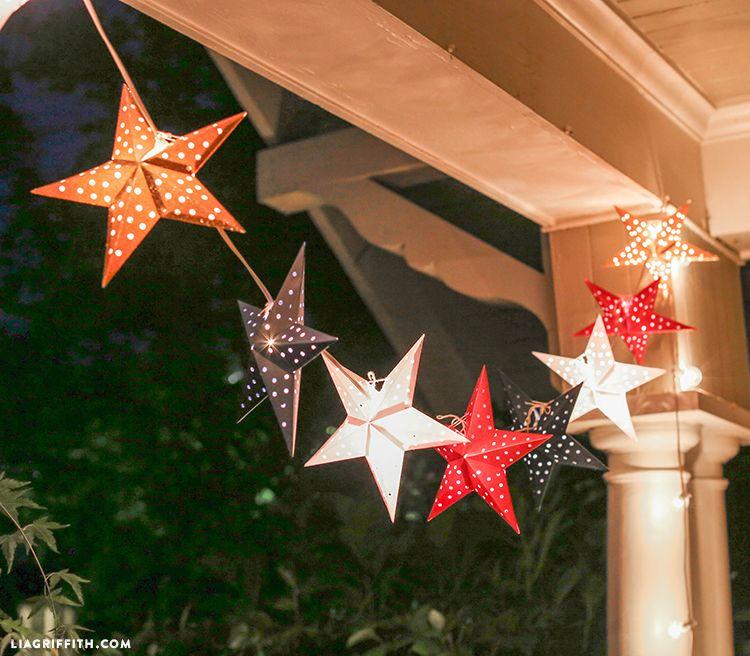 Paper Star Lights Garland   Paper star lanterns, Paper ...