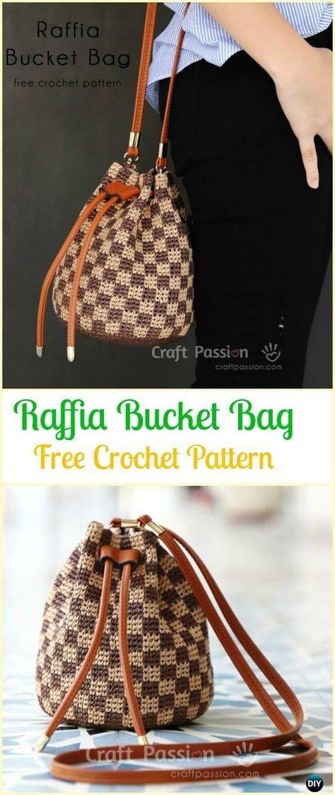 Crochet Raffia Bucket Bag Free Pattern Crochet Handbag Free