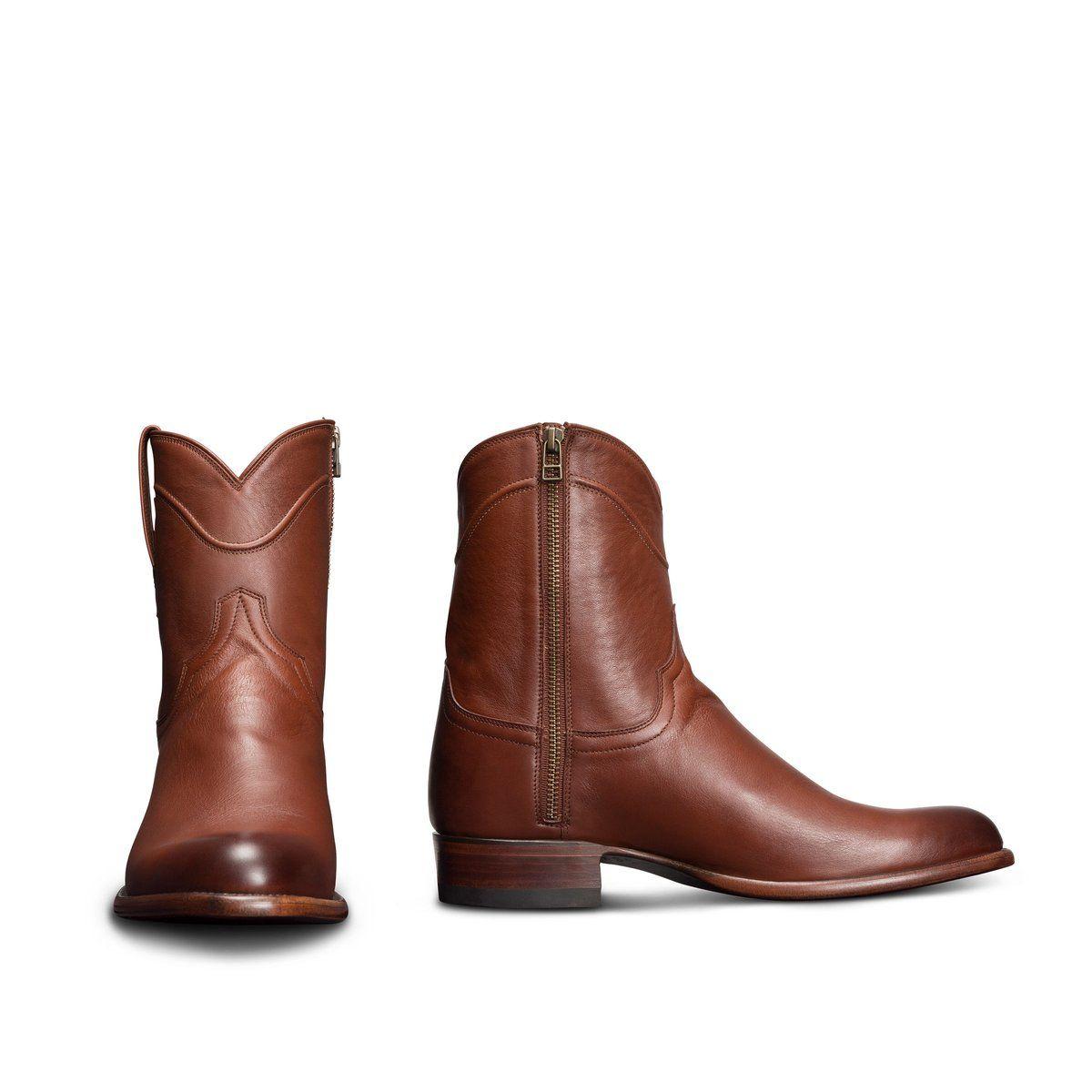 Men's Zipper Cowboy Boots - Leather