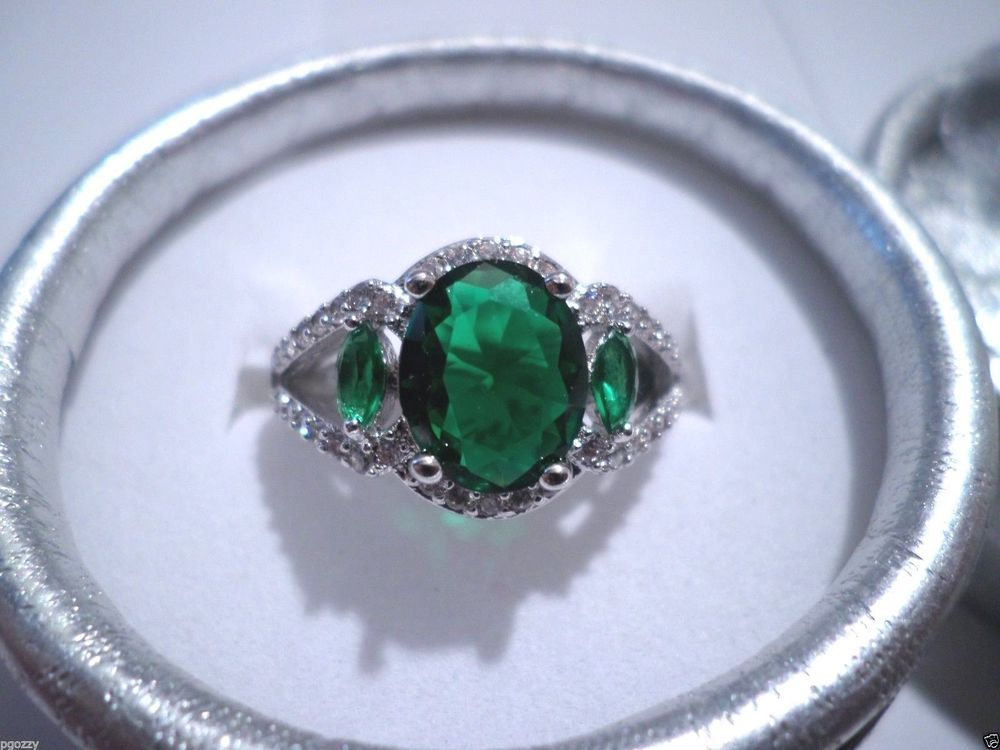 women's emerald green clear accents cz ring sizes 7 & 8 925 sterling silver