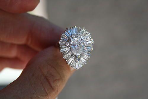 Pear diamond ballerina ring