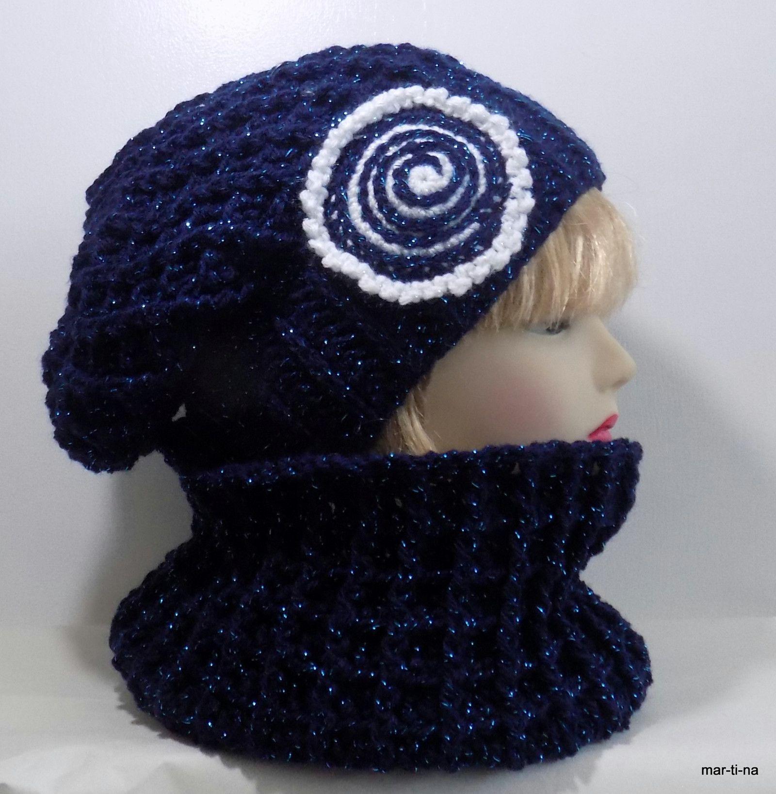 Zachumlám se - tmavě modrá lurex Háčkovaná čepice a nákrčník. Set je v  barvě tmavě modré s lurexovým vláknem barvy 3b2206bf8f