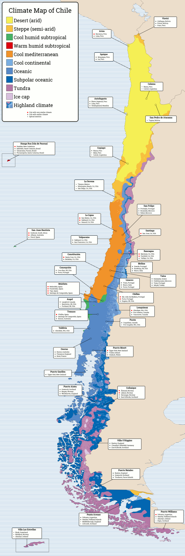 kppen trewartha climate map of chile and cities with similar climate