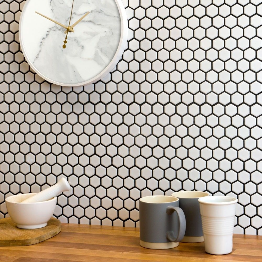 White Hexagon Matt Tiles Bijou Hexagonal Mosaic 335x292x4mm