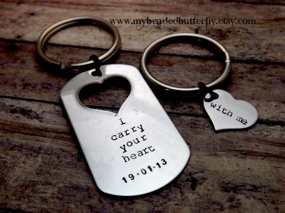 Handstamped Keychain Personalized Dog Tag Heart Couples Necklace