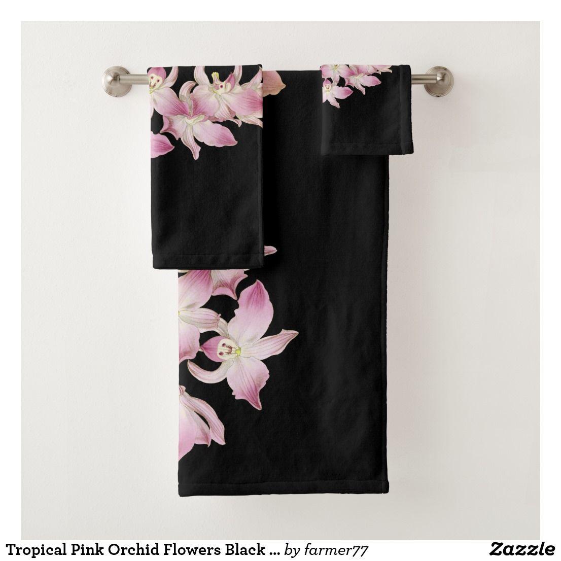 Tropical Pink Orchid Flowers Black Bath Towel Set Floral Bath