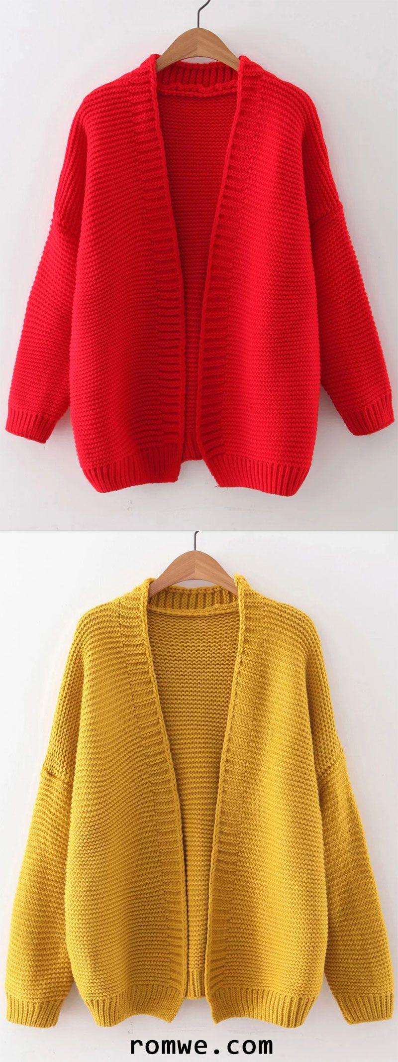 Open Front Drop Shoulder Cardigan | Romwe Women Style | Pinterest ...