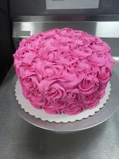 Fantastic Hot Pink Rosette Cake With Images Pink Cupcakes Birthday Pink Funny Birthday Cards Online Overcheapnameinfo
